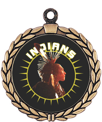 Indians -Brave Mascot Medal HR905-642 with Neck Ribbon