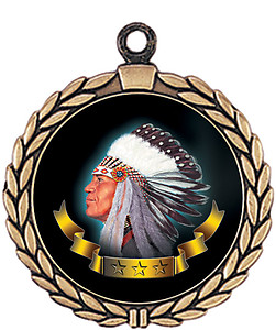 Indians  Mascot Medal HR905-7170 with Neck Ribbon