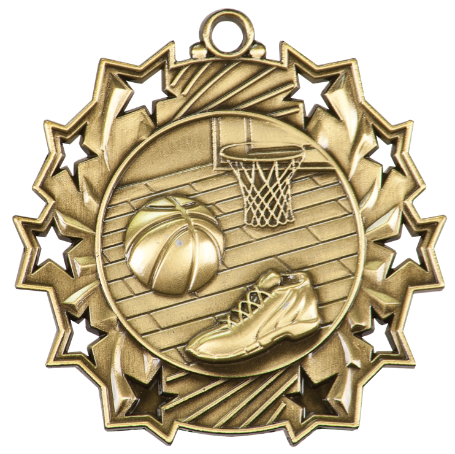 Ten Star Basketball Medals TS-402 with Neck Ribbons