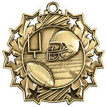 Ten Star Football Medals TS-405 with Neck Ribbons