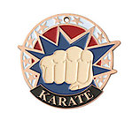 Colorful USA Karate Medals 38100 with Neck Ribbons