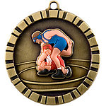 IM262 Colorful 3D Wrestling Medals with Neck Ribbons