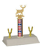 R3 Archery Trophies with a single round column and trim figures.