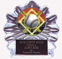 Acrylic Flame Ice Baseball Trophy